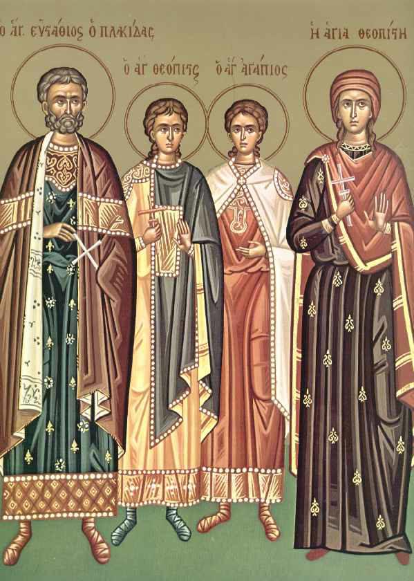 Ο Άγιος Ευστάθιος και η συνοδεία του, Θεοπίστη η σύζυγος του, Αγάπιος και Θεόπιστος τα παιδιά του